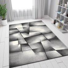 Modern Grey Rug Geometric Pattern Woven Short Pile Carpet Mat for Living Room or Bedroom