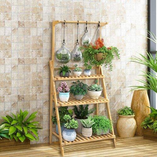 Delaman 3 Tier Plant Stand Ladder Wooden Flower Shelf with Hanging Bar