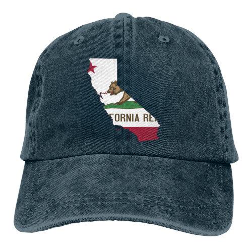 (Navy) Map Of California Flag Denim Baseball Caps