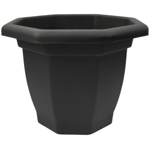 Thumbs Large 36cm Black Plastic Planter Plant Pot Flower Pot Octagonal Bellpot