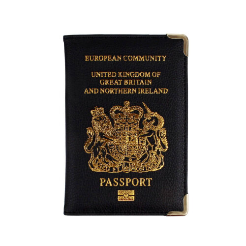 New UK Passport Holder Protector Cover Wallet PU Leather- Black