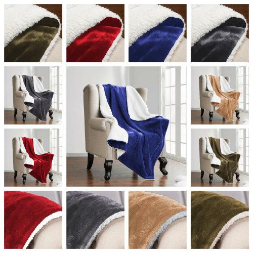 Soft Sherpa Flannel Fur Throw Sofa Fleece Blanket
