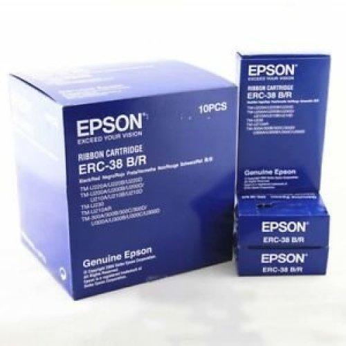 Brand New EPSON 10 Pack of ERC-38BR ERC38BR Printer Ribbon Cartridge Black//Red
