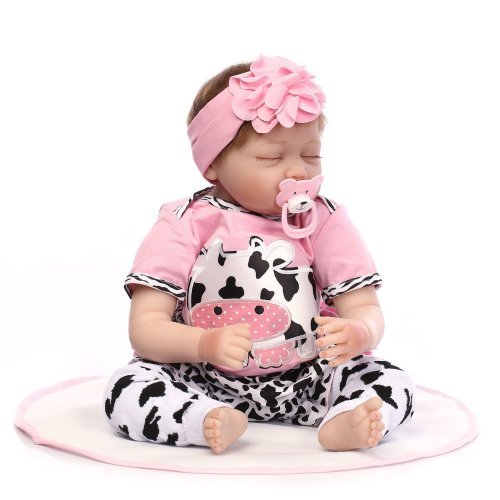Yesteria Realistic Reborn Baby Dolls Girl Cotton Body Pink Outfit 22 Inches
