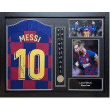 Framed Lionel Messi signed 19/20 Barcelona shirt with Uefa medal & COA