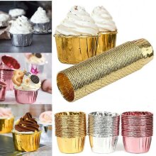50PCS Cupcake Wrappers Silver Foil Cup Cake Cases Paper Baking Cups Muffin