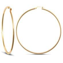 Jewelco London Ladies 9ct Yellow Gold Polished 2mm Hoop Earrings 65mm