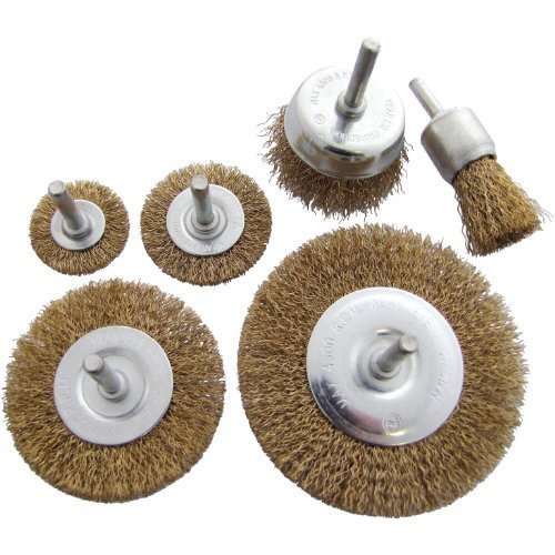 6pc Wire Wheel Brush Set -  wheel brush wire set rotary cup 6pc 6mm shank rust paint weld decarb amtech removal