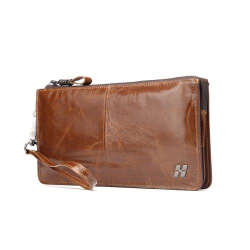 "Hautton Leather Brown Wrist Bag 8.0"" Central Zip Compartment Removeable Strap"
