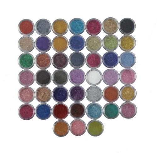 45pc Mixed Colours Fine Nail Glitter Set   Dust Powder Nail Art Kit