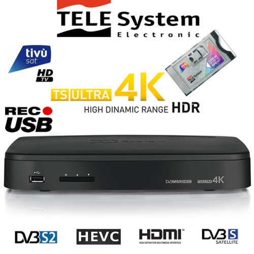 TeleSystem TS Ultra 4K HD Decoder with Pre-Activated Tivusat Cam+Card