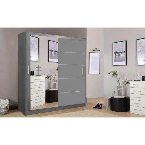 (Grey, 180cm) Lyon Modern Bedroom Sliding Door Wardrobe