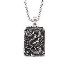 Men Zodiac Dragon Totem Dog Tag Pendant Necklace