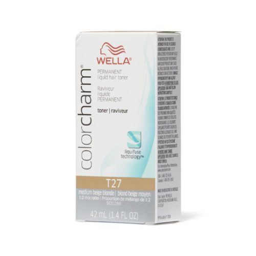(T27 Medium Beige Blonde) Wella Color Charm Permanent Liquid Hair Toner - Blondes