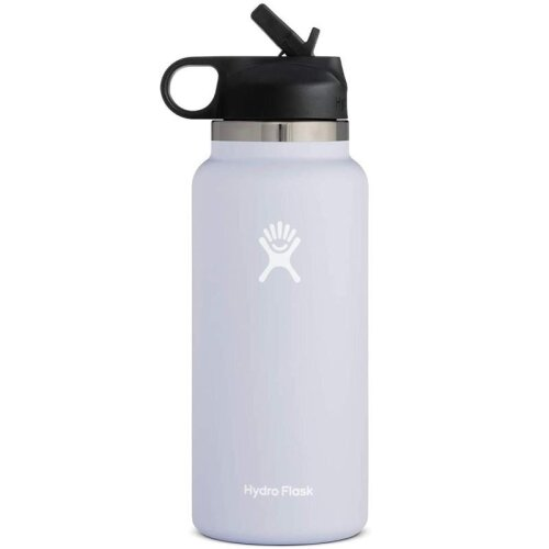 (Fog, 32oz) HydroFlask Water Bottle, Stainless Steel & Vacuum Insulated, Wide Mouth With Straw Lid