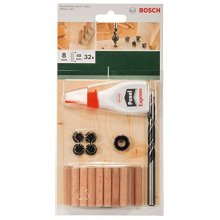 Bosch 2609255306 40mm Dowel Set with Diameter 8mm (32 Pieces)