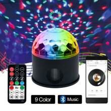 LED RGB Stage Light Music Player Ball Light Voice Remote Control +USB