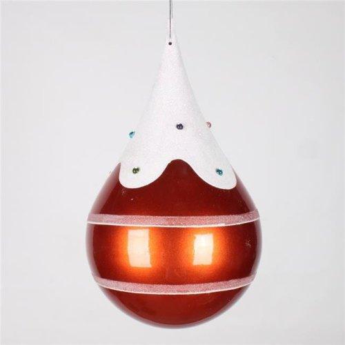 Vickerman M130918 Candy Orange Snow Jewel Teardrop Ornament - 7 in.