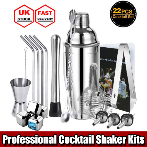 Cocktail Shaker Sets Mixer Maker Stainless Steel Bar Bartender Drink Making Kits 22 Pcs