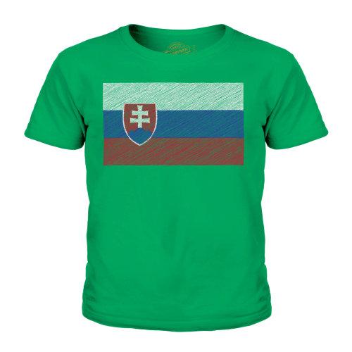 (Irish Green, 5-6 Years) Candymix - Slovakia Scribble Flag - Unisex Kid's T-Shirt