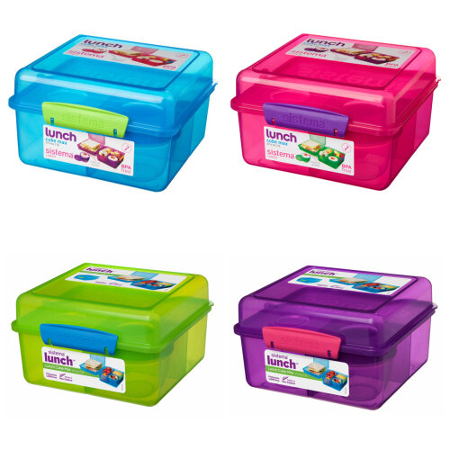 Sistema Lunch Cube Max Lunch Box with Yoghurt Pot, Pink