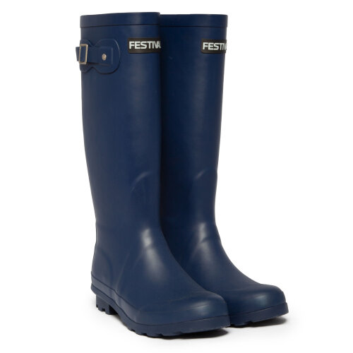 (3 (Adults')) Festival Blue Womens Lined Wellington Boot Wellies