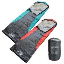 ASAB 200gsm Hooded Sleeping Bag 3 Season Mummy Shape Dual Zip Warm Camp Festival