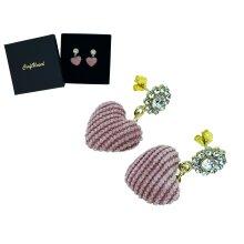 Craftuneed handmade women pink heart shape rhinestones drop earrings