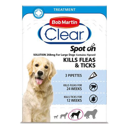 (Large Dog, Single Pack (3 Tubes)) Bob Martin Clear Spot On Dog Flea & Tick Solution