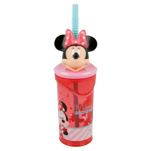 Minnie Mouse Kids 3D Figurine 360ML Drinking Tumbler Bottle & Expandable Straw