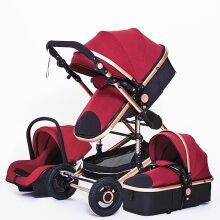 High Landscape Baby Stroller 3 In 1 With Car Seat Pink Stroller