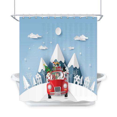 165x180cm 3D Christmas Tree Digital Printing Waterproof Bathroom Shower Curtain