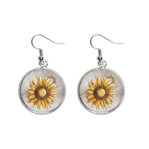 Sunflower Sunflower Seed Flower Plant Ear Dangle Silver Drop Earring Jewelry Woman
