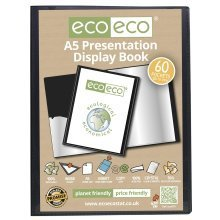 eco-eco Black A5 Presentation Display Book | 60 Pocket Display Folder