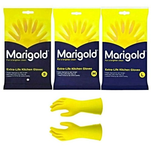 (MEDIUM) 6 PAIRS MARIGOLD KITCHEN GLOVES ORIGINAL S / M / L EXTRA LIFE CLEANING & WASHING