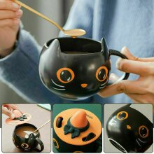 2021 Starbucks Black Cat Cup With Witch Cap Lid&Spoon Coffee Mug Halloween Gifts