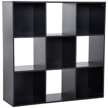 HOMCOM 3-tier 9 Cubes Storage Unit Particle Board Cabinet Bookcase Organiser Home Office Shelves Black
