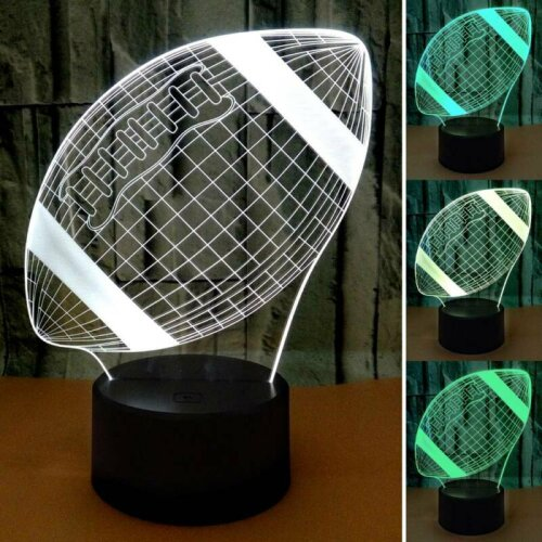 3D Rugby LED Night Light Lamp USB Remote Touch Control 7 Colour Change