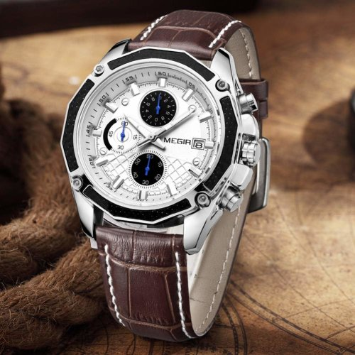 MEGIR Men's Analogue Army Military Chronograph Luminous Quartz Watch with Fashion Leather Strap for Sport & Business Work