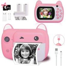 Instant Print Camera for Kids, Upgrade Selfie Kids Camera, Digital Zero Ink Video Camera with 3 Rolls Print Paper Camera, 1000 mAh, Dual Len