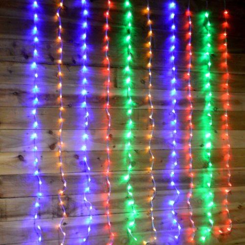 Premier 240 LED 1.5m x 2m Tall Cascading Waterfall Curtain Light - Multicoloured