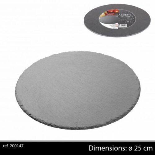 Ardoise Tableware Round Serving Platter 25cm Starter Slate Slate