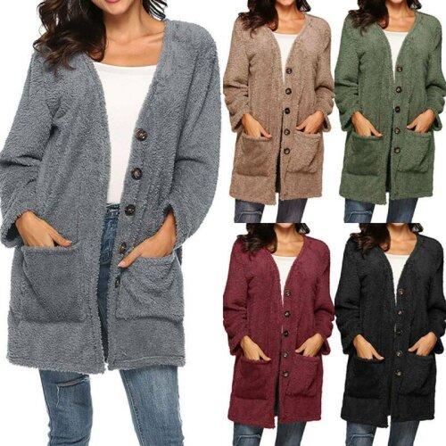 Women Winter Warm Teddy Bear Fleece Jacket Ladies Casual Coats Cardigans Outwear