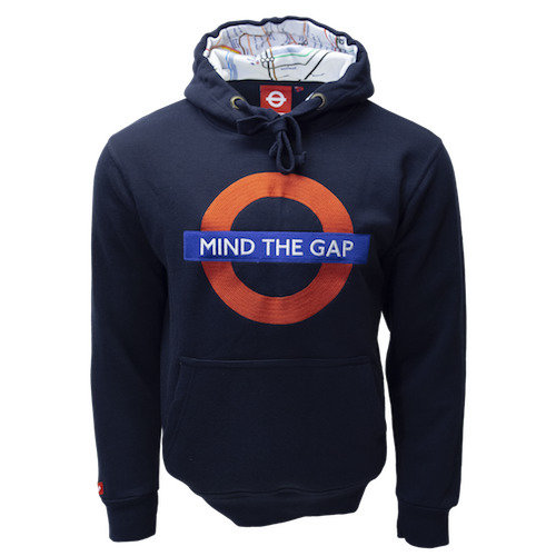 TFL129 Licensed Unisex Mind the Gap Chain Stitch Embroidery Hooded Sweatshirt