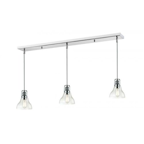 Zlite 321-8MP-3CH Forge 3 Light Island & Billiard Light in Chrome with Clear Shade
