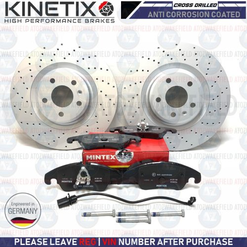 FOR AUDI A4 A5 A6 FRONT PERFORMANCE DRILLED BRAKE DISCS MINTEX PADS WIRE 320mm