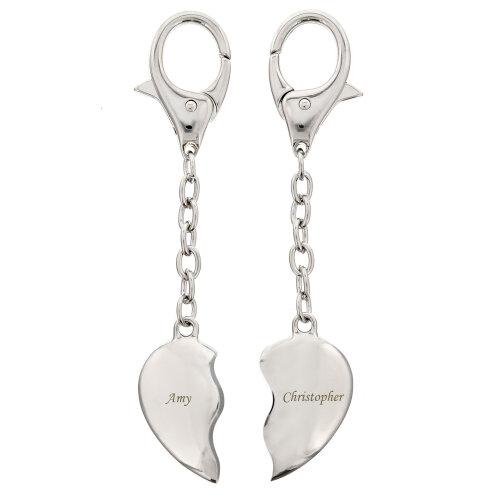 Personalised Heart Keyrings - Set of 2