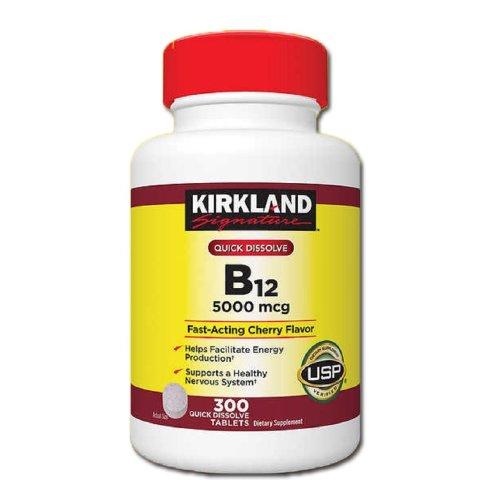 Kirkland Signature Quick Dissolve B12 5000 mcg, 300 Tablets (Vitamin B-12)