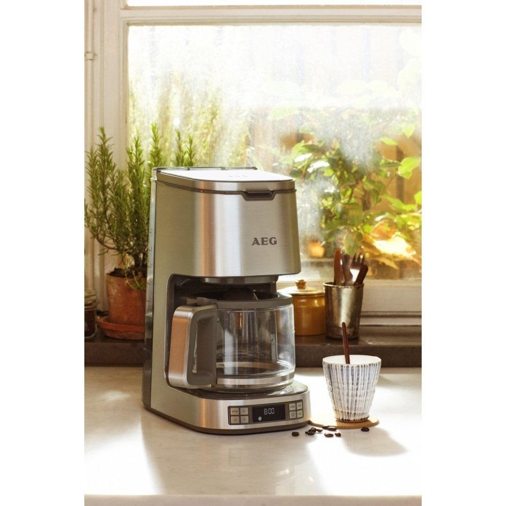 Stainless Steel AEG KF7800 Digital 12 Cup 1100W 1.4L Filter Coffee Machine