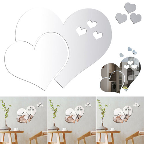 Love Heart Mirror Tiles Wall Sticker Stick on Decal Bedroom Living Room Decor